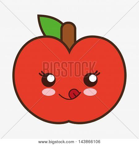 apple kawaii cartoon smiling healthy food icon. Colorful and flat design. Vector illustration