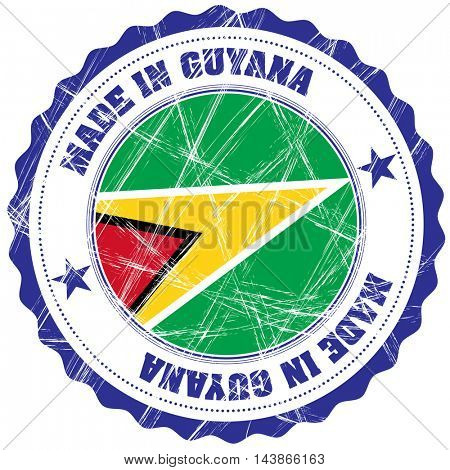 Made in Guyana grunge rubber stamp with flag
