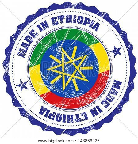 Made in Ethiopia grunge rubber stamp with flag