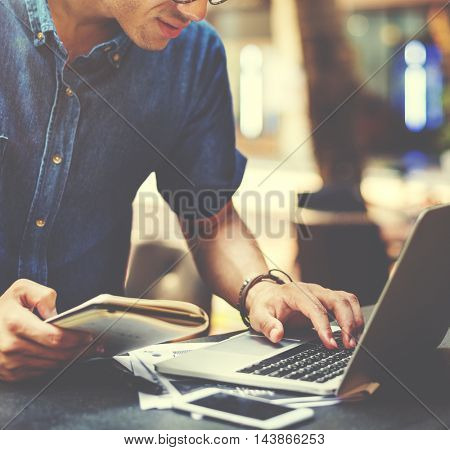 Man Working Coffee Shop Connecting Laptop Concept