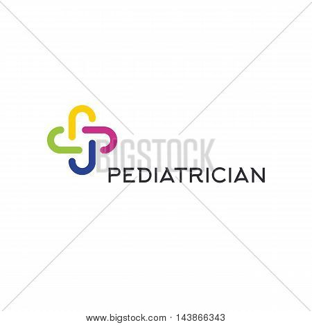 Isolated colorful abstract cross vector logo. Outlined plus sign. Medical icon. Decorative element