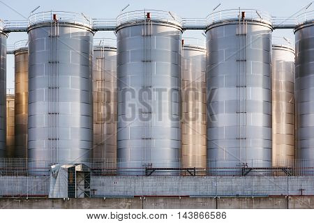 Naples Italy - August 10 2016: In the commercial port city of silos for storage of liquid discharged from ships.