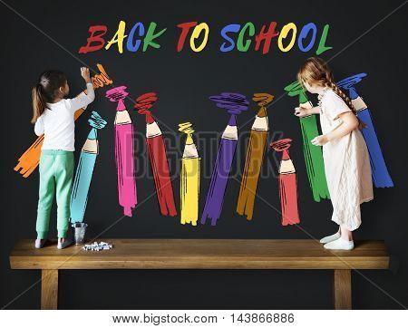Friendship Enjoyment Chalkboard Childhood Concept