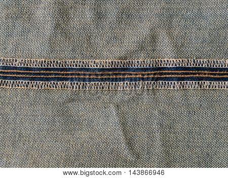 horizontal seam inside of blue jeans closeup.