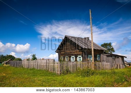 Old wooden russian country house, izba, northern Russia.