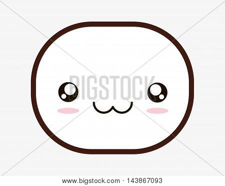 oval kawaii cartoon smiling face icon. Isolated and flat design. Vector illustration