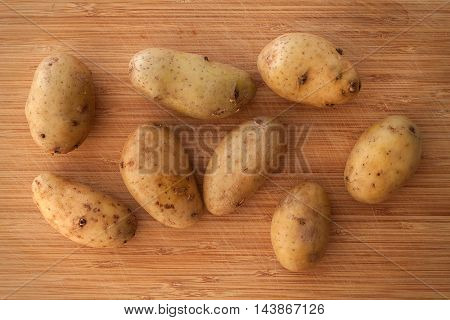 Potato Still Life On Wood Background Flat Lay