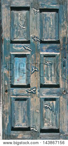 Blue old door carved with seagulls. Morocco