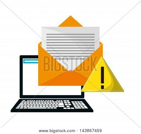 laptop warning envelope call center technical service icon. Colorful design. Vector illustration