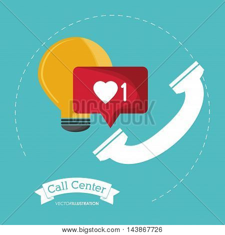 phone bulb message call center technical service icon. Colorful design. Vector illustration
