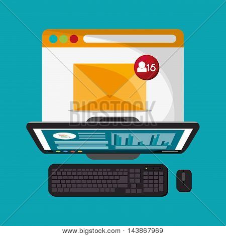 computer mail message email send communication icon. Colorful design. Vector illustration