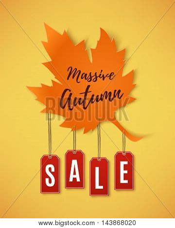 Autumn sale abstract banner. Maple leaf with red price tags orange background. Brochure or poster template. Vector illustration.