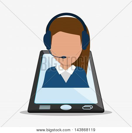 woman headphone smartphone avatar call center technical service icon. Colorful design. Vector illustration