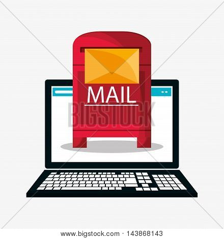 laptop mail box message email send communication icon. Colorful design. Vector illustration
