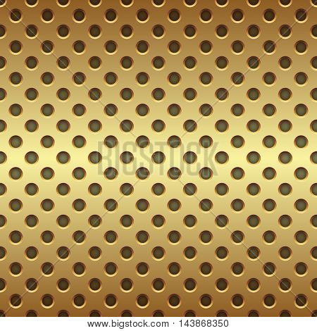 Seamless golden circle perforated panel vector background.