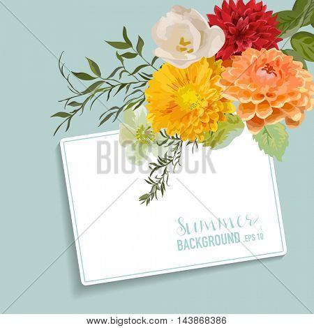 Vintage Floral Card with a Tag for your Text - Colorful Flowers Graphic Design - in vector