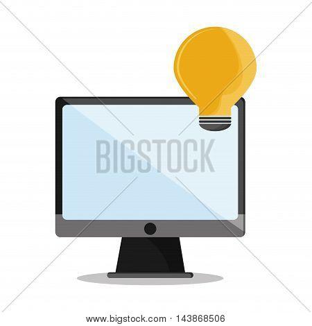 computer bulb call center technical service icon. Colorful design. Vector illustration