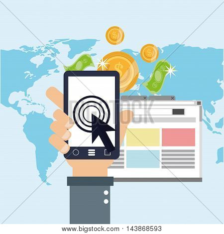 smartphone bills coins ecommerce shopping online technology icon. Colorful and Flat design. Vector illustration