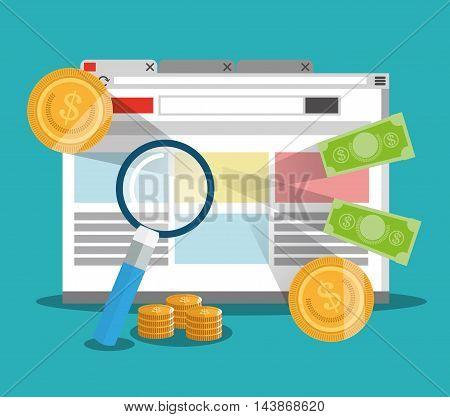 site lupe bills coins ecommerce shopping online icon. Colorful and Flat design. Vector illustration