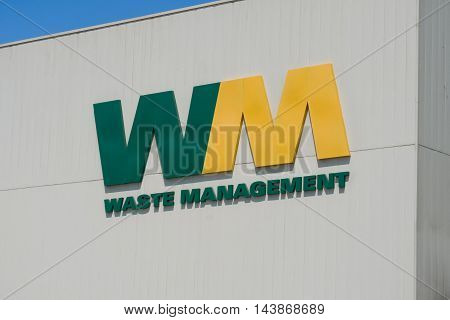 INRWINDALE CA/USA - AUGUST 20 2016: Waste Management exterior building and logo. Waste Management Inc. is an American waste management and environmental services company.
