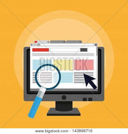 computer lupe ecommerce shopping online technology icon. Colorful and Flat design. Vector illustration