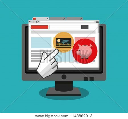 computer credit card piggy ecommerce shopping online technology icon. Colorful and Flat design. Vector illustration