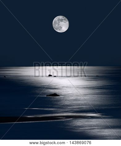 Lake Michigan Moonrise Upper Peninsula Michigan, USA