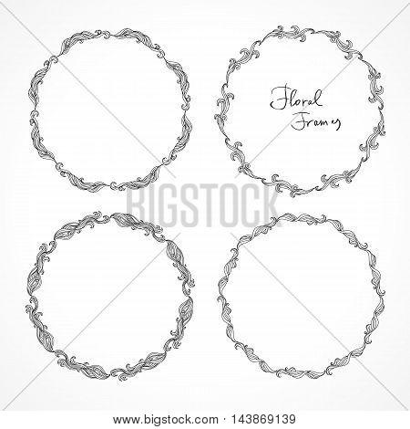 Set of round floral decorative frames. Circular patterns