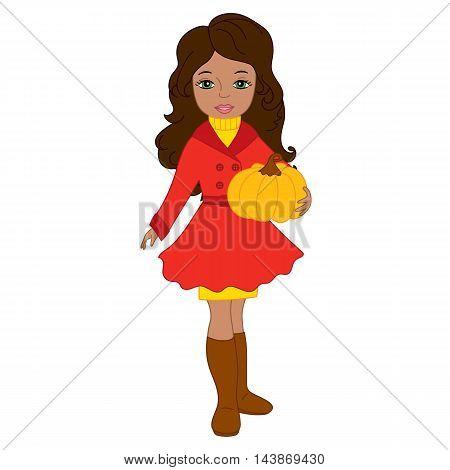 Vector African American autumn girl with pumpkin
