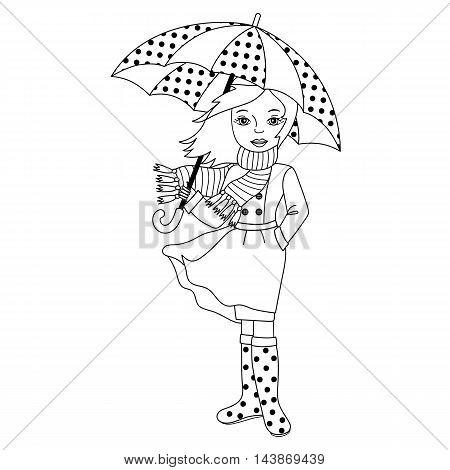 Vector black and white autumn girl with umbrella