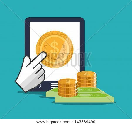 tablet bills coins cursor ecommerce shopping online technology icon. Colorful and Flat design. Vector illustration