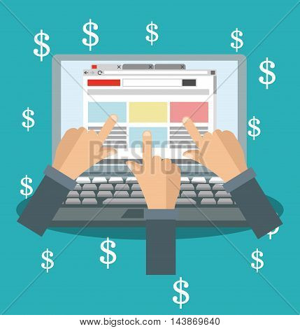 laptop money hands ecommerce shopping online technology icon. Colorful and Flat design. Vector illustration