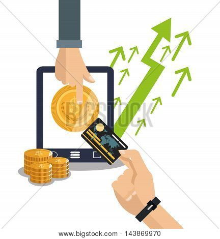 tablet coins credit card arrows ecommerce shopping online technology icon. Colorful and Flat design. Vector illustration