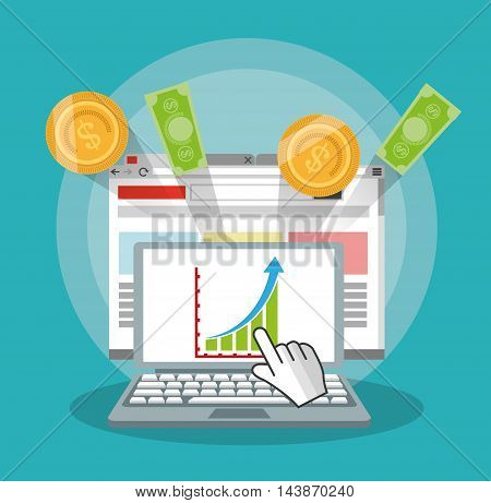 laptop bills coins ecommerce shopping online technology icon. Colorful and Flat design. Vector illustration