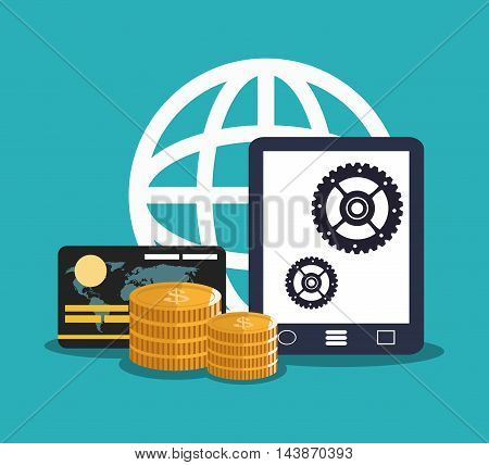 tablet credit card coins gears ecommerce shopping online technology icon. Colorful and Flat design. Vector illustration