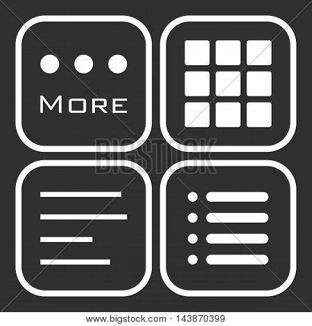 Hamburger menu icons set. Vector interface symbols collection on black background.