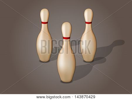 Single bowling pin with red stripes isolated, excellent vector illustration