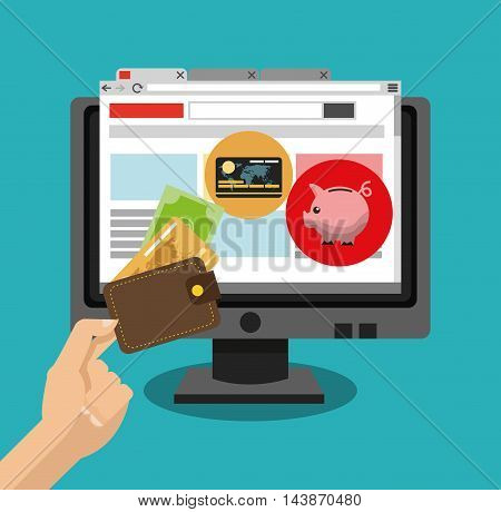 computer credit card piggy money ecommerce shopping online technology icon. Colorful and Flat design. Vector illustration