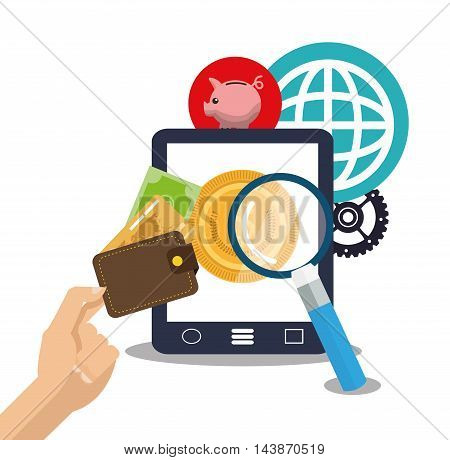 tablet piggy coin lupe gear wallet ecommerce shopping online technology icon. Colorful and Flat design. Vector illustration