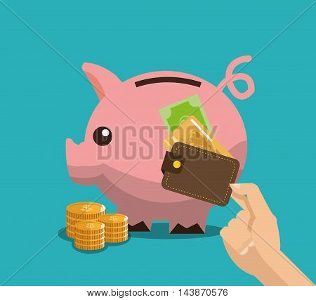 piggy wallet credit card bill coins money commerce shopping market icon. Colorful and Flat design. Vector illustration