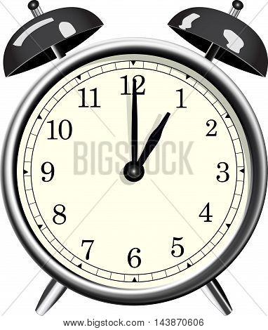 Classic metallic alarm clock over white background