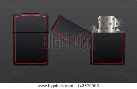 gas lighter eps10 vector illustration closed and opened versions
