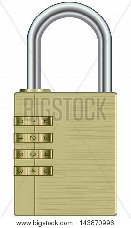 Metallic lock with passcode on a white background