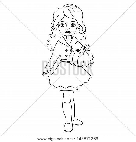Vector black and white autumn girl with pumpkin