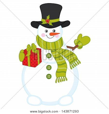 Vector Christmas snowman in hat with gift box