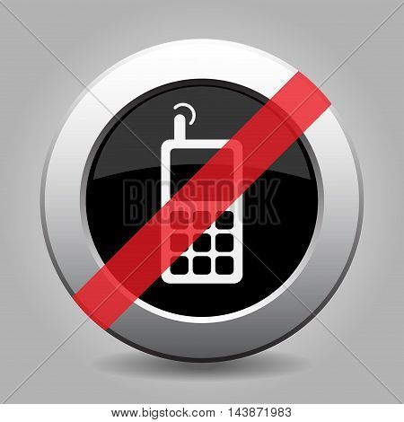 gray chrome button with no old mobile phone with antenna and signal - banned icon