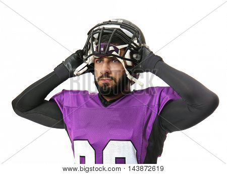 American football player isolated on white background