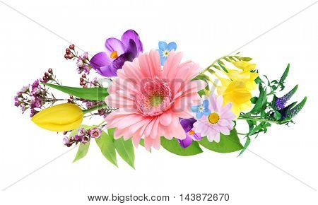 Beautiful flowers collage on white background