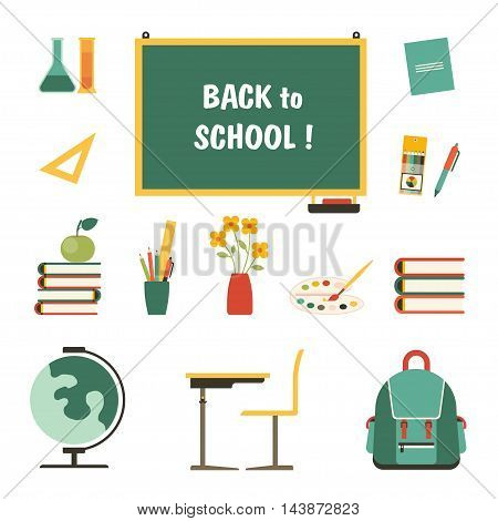 Back to school vector illustration set in a flat style.