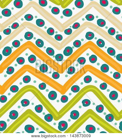 Painted Orange And Green Zigzag With Blue Dots